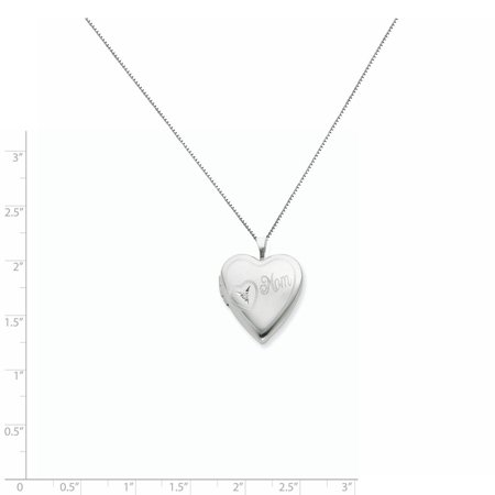Sterling Silver Rhodium-plated 20mm Mom with Diamond Heart Locket QLS250-18 (25mm x 20mm) - image 2 de 3