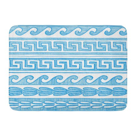 GODPOK Roman Border Meander Wave Other Ancient Greece in Blue Ink Style on White Greek Abstract Rug Doormat Bath Mat 23.6x15.7