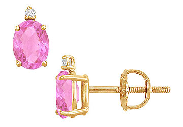 Cubic Zirconia and Created Pink Sapphire Stud Earrings 14K Yellow Gold 2.04 CT TGW by Love Bright