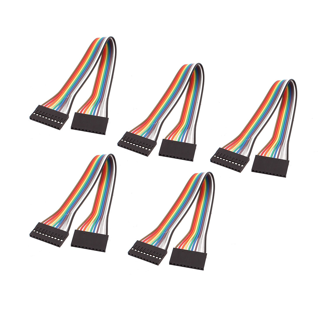 5PCS 2.54mm Pitch 10P Female Breadboard Double Head Jumper Wire Cable 20cm Long