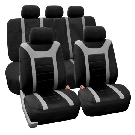 FH Group Grey Airbag Compatible Sports Car Seat Covers (Full Set)