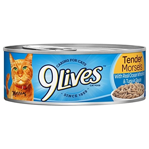 Image of 9Lives Tender Morsels With Real Ocean Whitefish & Tuna In Sauce Wet Cat Food, 4/5.5 Oz Cans