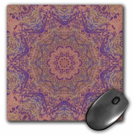 Mouse Pattern - 3dRose Purple Gold Splatters on Peach Kaleidoscope Pattern, Mouse Pad, 8 by 8 inches