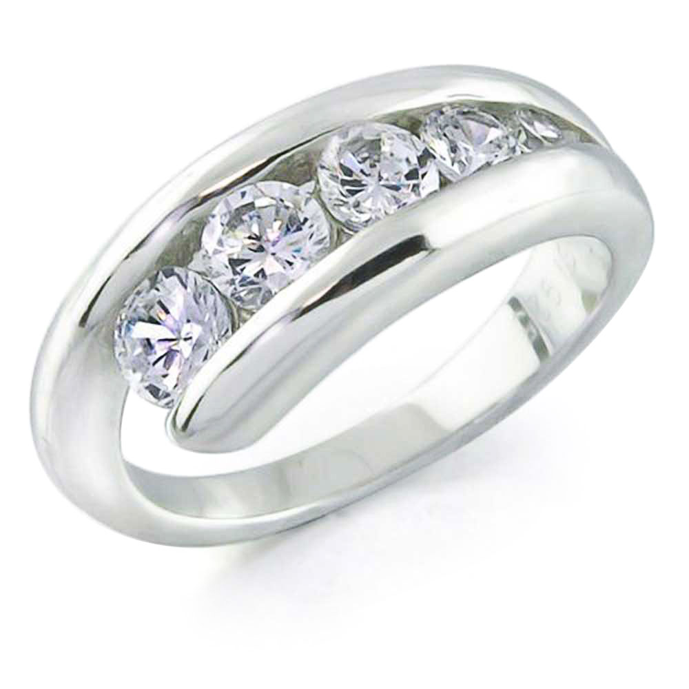 Bling Jewelry Sterling Silver Love Journey CZ Wedding Band Ring