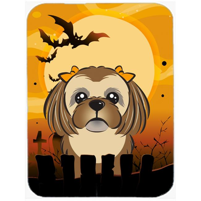 Halloween Chocolate Brown Shih Tzu Mouse Pad, Hot Pad & Trivet
