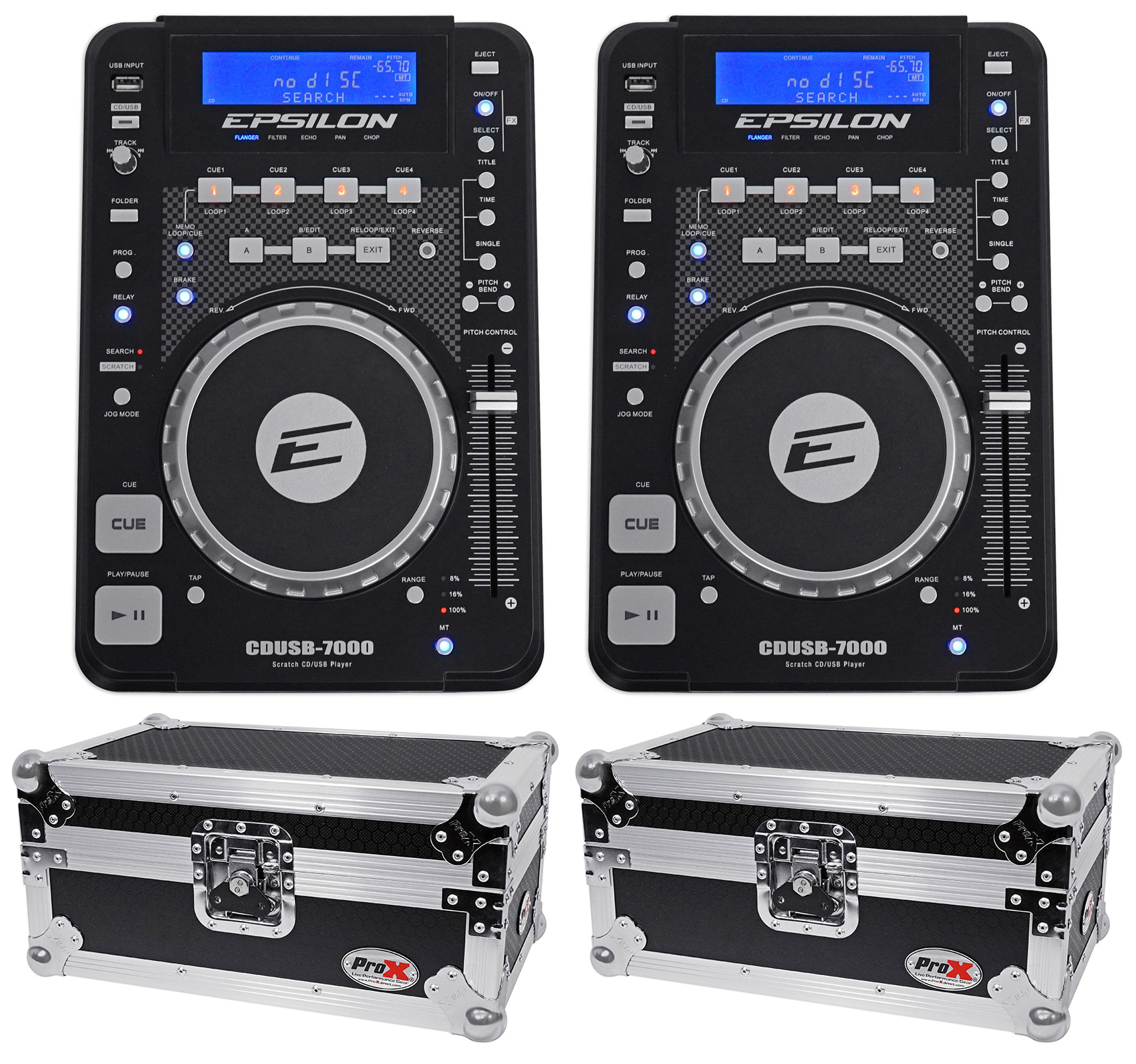 2) EPSILON CDUSB-7000 Tabletop DJ Scratch CD MP3 USB Digital Turntables+2) Cases by Other