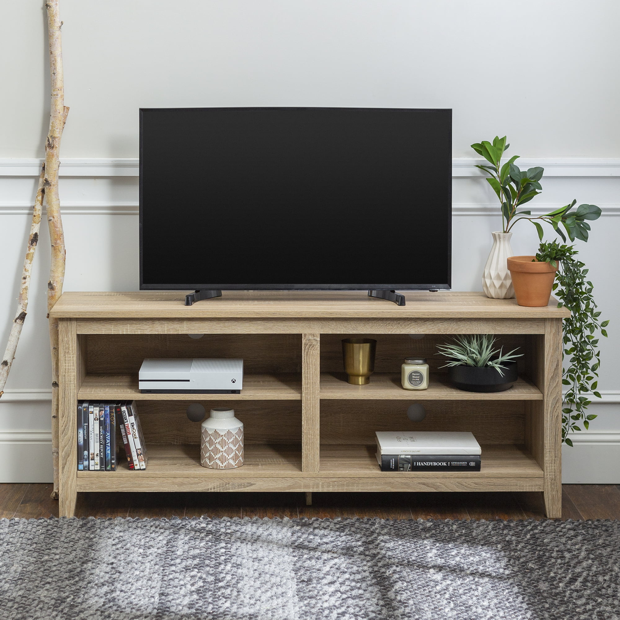 Wood Tv Media Storage Stand For Tv S Up To 60 Multiple Finishes Walmart Com Walmart Com