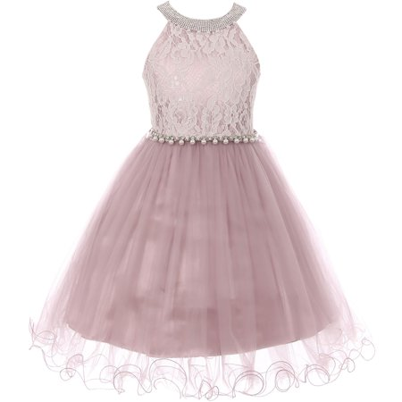 Little Girl Gorgeous Pearl Halter Pageant Gown Party Flower Girl Dress Rose 4 CC 5052 BNY Corner - Gorgeous Girls Dresses