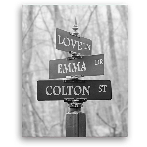"Personalized Signs Of Love 11"" x 14"" Canvas, Black and White"