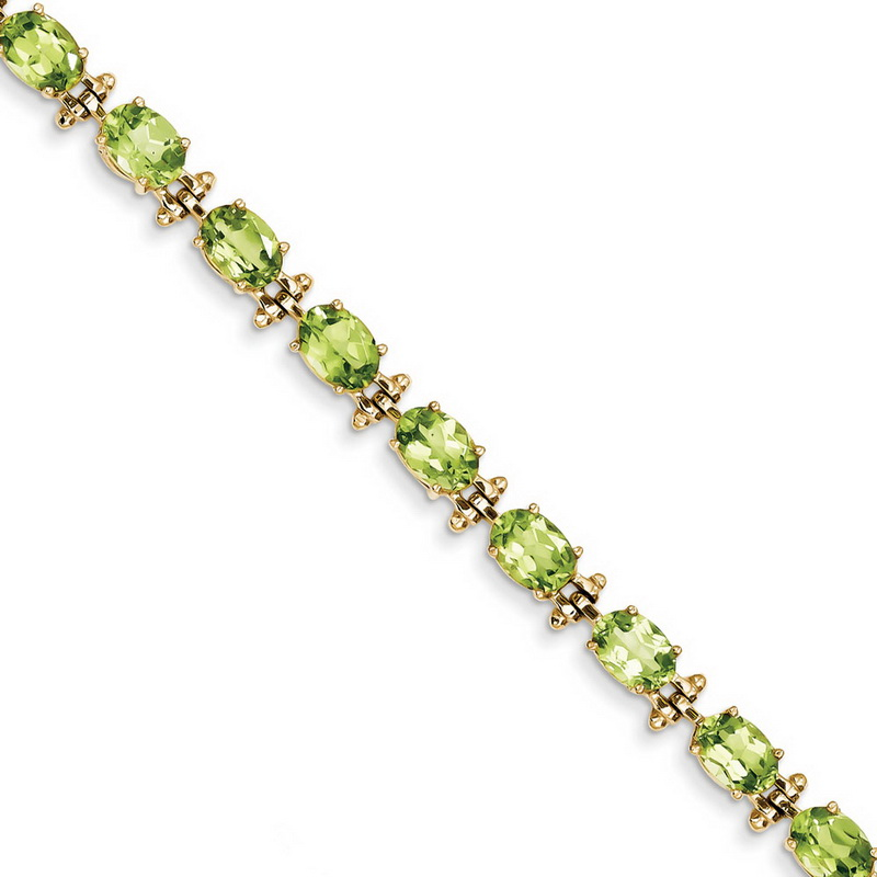 14k Yellow Gold Peridot Bracelet 13.50 cwt 7 Inch 7mm Box Clasp by Kevin Jewelers