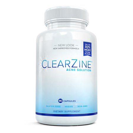 ClearZine Acne Solution - Natural Acne Pills for Teens and Adults with Pantothenic Acid, 90 Capsules for $<!---->
