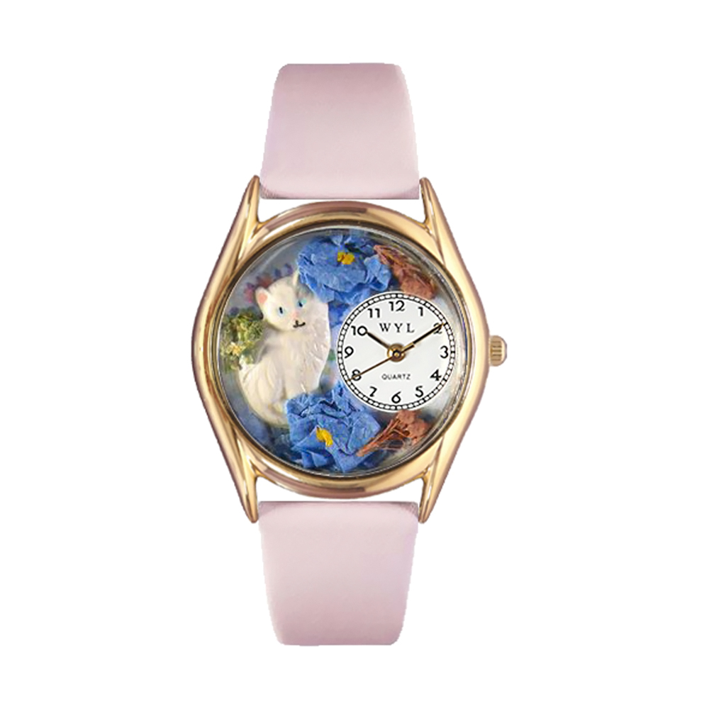whimsical watches c0120002 classic gold white cat