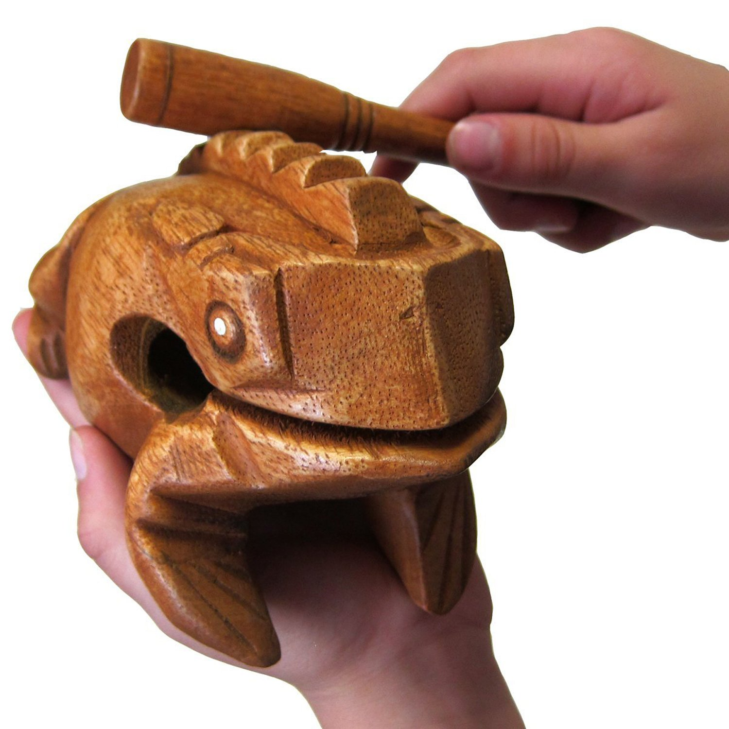 "Deluxe Large 6"" Wood Frog Guiro Rasp - Musical Instrument Tone Block - by World Percussion USA"