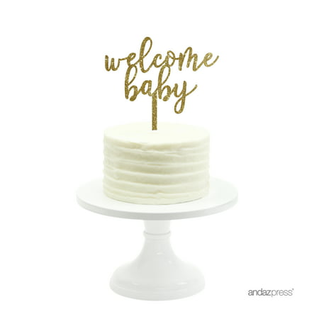 Welcome Baby Gold Glitter Baby Shower Acrylic Cake Topper](Dallas Cowboys Baby Shower Cake)