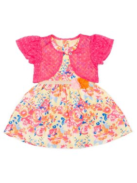 7302d5b1517 Product Image Printed Floral Shantung Dress   Knit Shrug