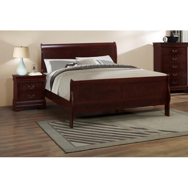 Myco Furniture Louis Philippe Bed Color Cherry Size King Walmart Com Walmart Com