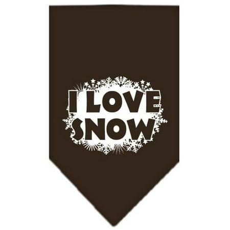 I Love Snow Screen Print Bandana Cocoa Large
