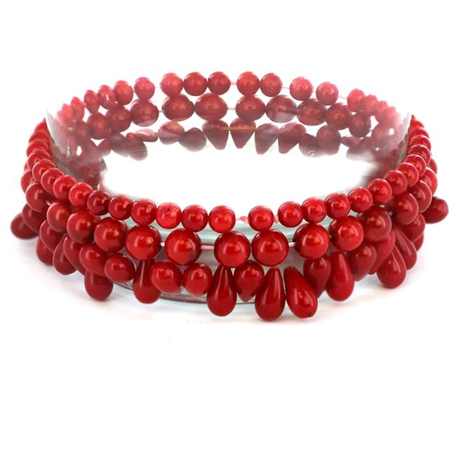 West Coast Jewelry TDL-GB0781 Womens Red Dyed Coral Beaded Bracelets Set of 3 by West Coast Jewelry