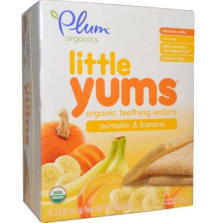 Plum Organics, Little Yums, Organic Teething Wafers, Pumpkin & Banana, 6 Packs, 0.5 oz (14.1 g) Each(pack of 12) - Halloween Pumpkin Face Cookies