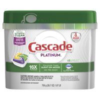 Cascade Platinum ActionPacs Dishwasher Detergent, Lemon, 48 count
