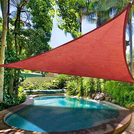 16.5' Triangle Sun Shade Sail Patio Deck Beach Garden Yard Outdoor Canopy Cover 95% UV Protection Blocking