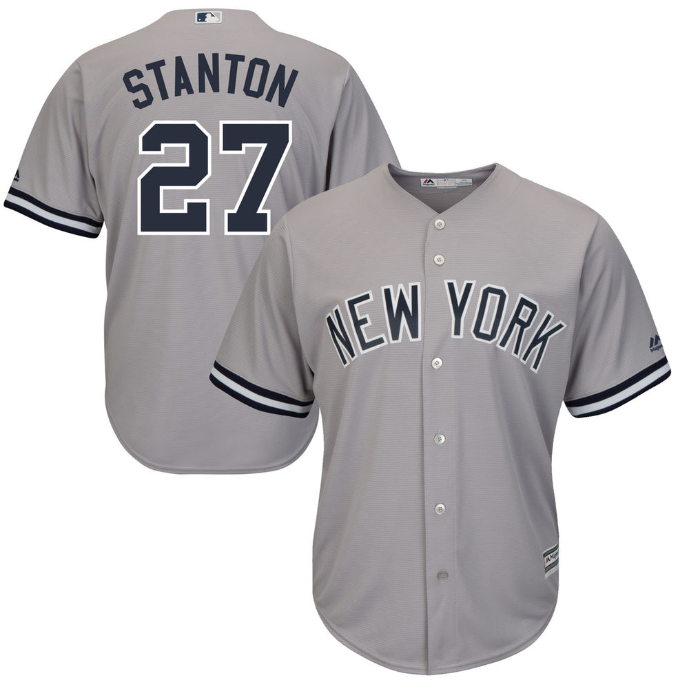 Men's New York Yankees Giancarlo Stanton Gray Cool Base Replica Player Jersey by