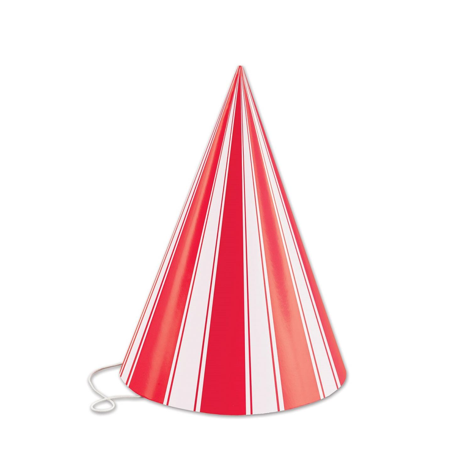 Club Pack of 144 Red and White Striped Fun and Festive Party Cone Hat 6.25