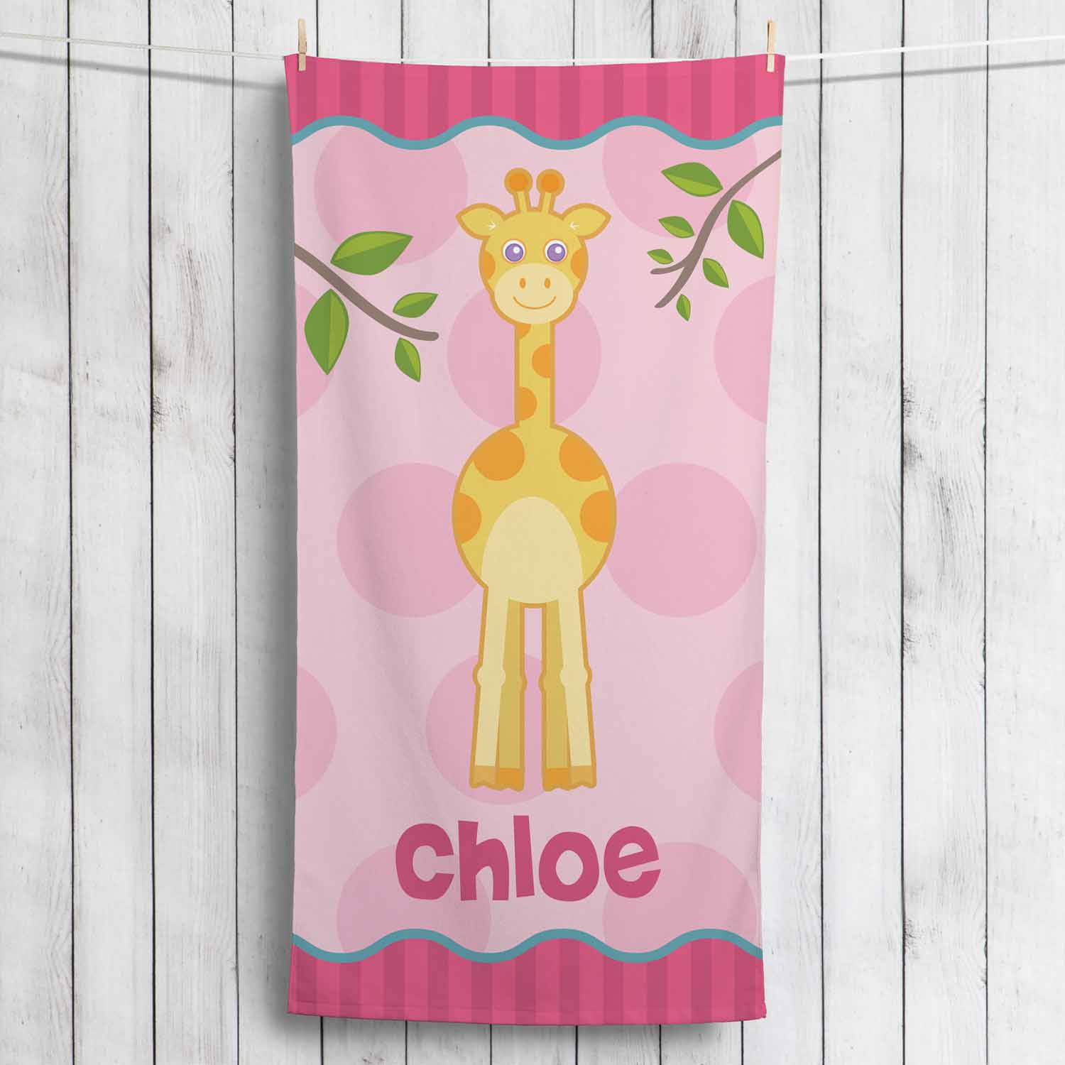 Personalized Sweet Giraffe Towel, Girl