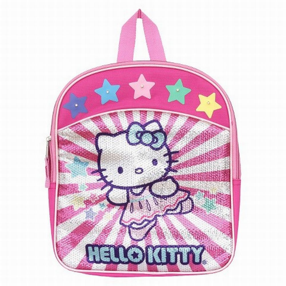 Hello Kitty Pink Sequin Light Up Mini Backpack Kids Travel School Back Pack