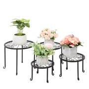 Ktaxon 4 Pack Round Nesting Plant Stand with Scroll Pattern Black