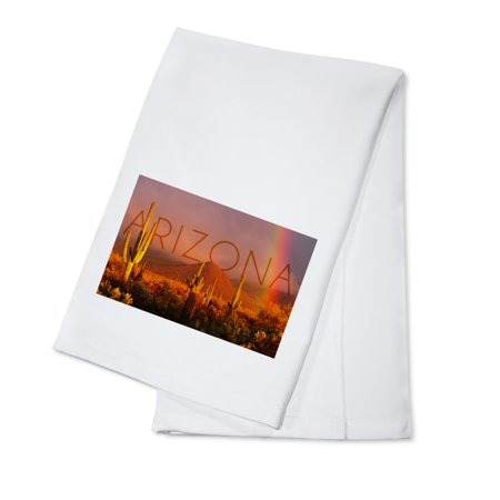 Arizona - Cactus & Rainbow Photograph (100% Cotton Kitchen Towel) (Rainbow Dash 20)