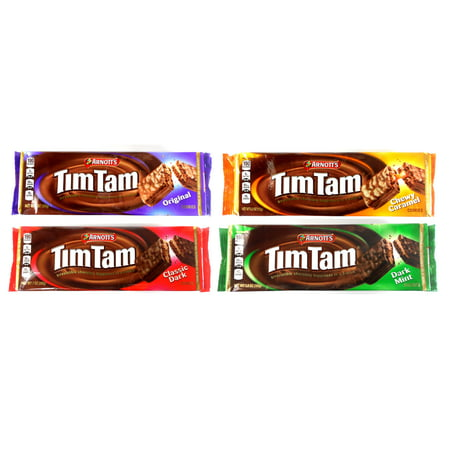 - Arnott's Tim Tam Australian Chocolate Biscuit Cookies Variety Pack of 4 ( Chocolate, Caramel, Dark Chocolate, Dark Mint)