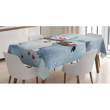 Snowman Tablecloth, Watercolor Style Snowfall Outdoors Merry Christmas Theme Winter Bullfinch Birds, Rectangular Table Cover for Dining Room Kitchen, 52 X 70 Inches, Multicolor, by Ambesonne ()