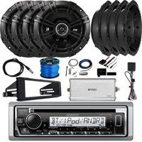 "Kenwood KMR-D375BT In-Dash Single-DIN Bluetooth CD Receiver, 4 x Kicker 6.5"" 240W 2-Way Audio Speakers, Enrock 4-Channel Marine Amplifier, Stereo Installation Kit, Accessories"
