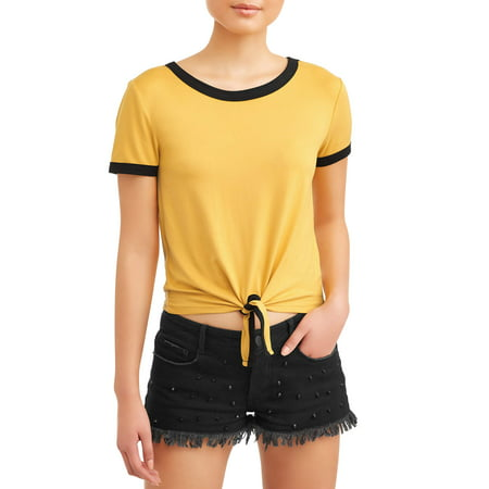Juniors' Peached Solid Tie Front Ringer T-Shirt ()