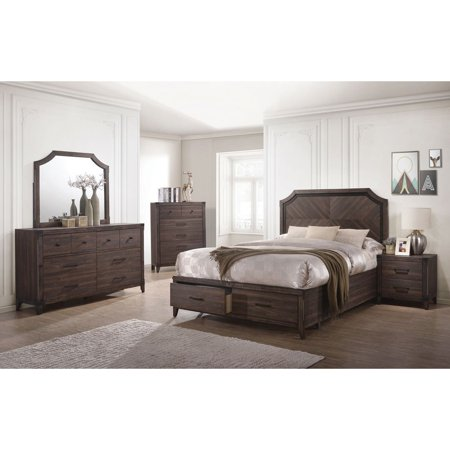 Dark Grey Oak Bedroom Furniture 4pc Set Queen Size Bed w Storage ...