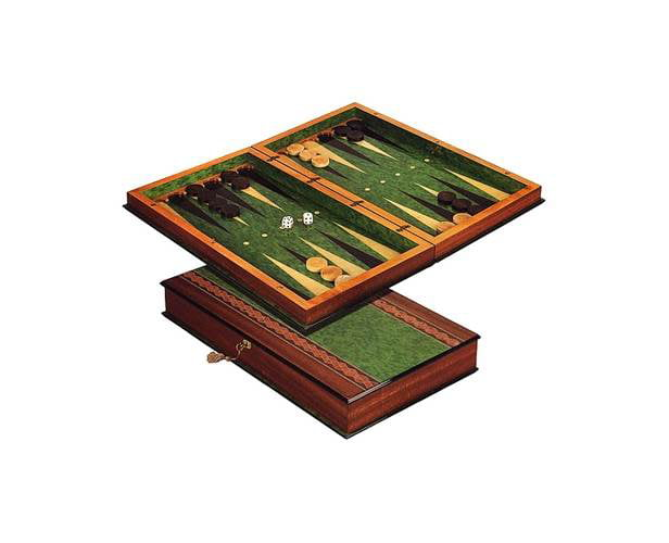 Sorrento II Green Finish Inlaid Wood Backgammon Game Set by Cambor