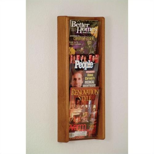 Wooden Mallet 3 Pocket Acrylic and Oak Wall Display in Medium Oak