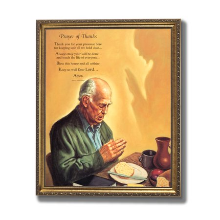 Old Man Praying At Dinner Table Daily Bread Religious Wall Picture ...
