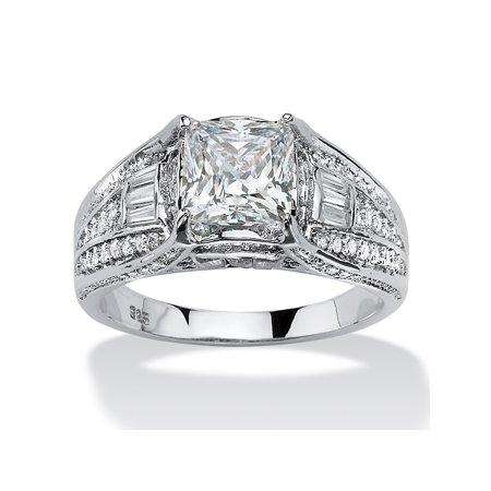 2 38 Tcw Cushion Cut Cubic Zirconia Engagement Ring In Platinum Over Sterling Silver