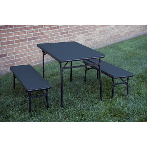Cosco 3-Piece Indoor Outdoor Table and 2 Bench Tailgate Set, Multiple Colors
