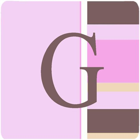 Monogram - Pink Stripes Foam Coasters Initial Letter G, Set Of 4