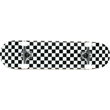 Checker Black/White Pro Complete Skateboard 7.5 White Wheels Raw Trucks ()
