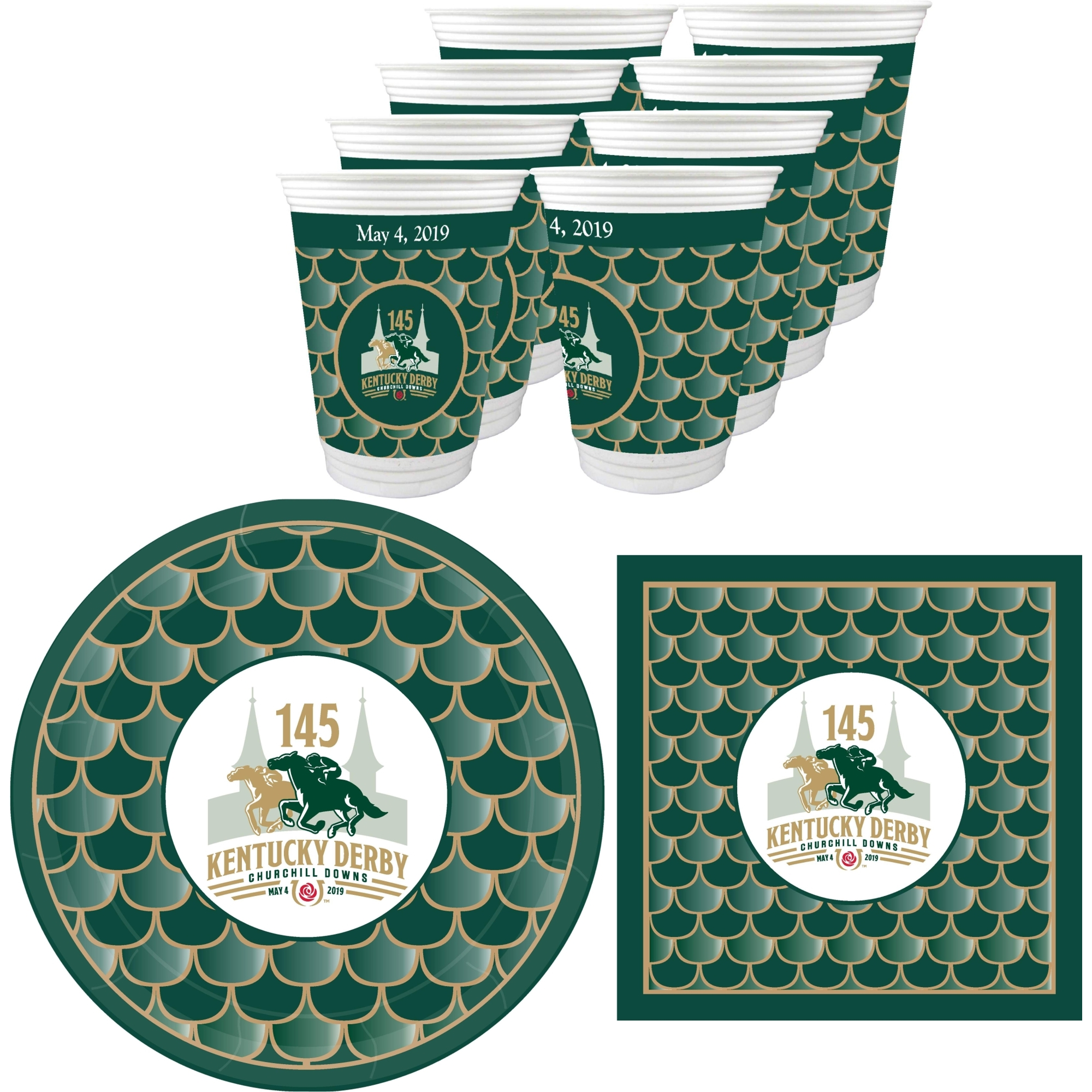 145th (2019) Kentucky Derby Party Supplies 72 Pieces (Serves 24)