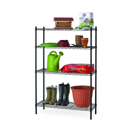 "Hyper Tough 14""Dx36""Wx54""H 4 Tier Wire Shelving Rack, Black"