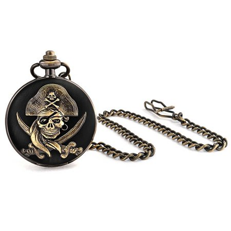 - Antique Style Pirate Skull and Crossbones Mens Pocket Watch