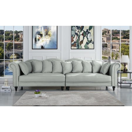 Living Room Traditional Sofa (Traditional Large Living Room Chesterfield Sofa, Light Grey )