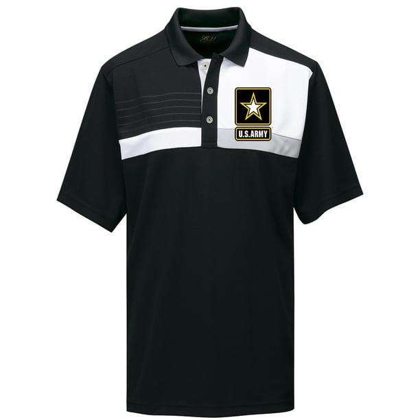 Mens US Army Premium Polo Shirt - Black/White/Gray, 4XL