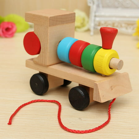 Wooden Building Blocks Stacking Train Peg Puzzles Games Toddlers Educational Baby Kid Children Boy Girl Development Toys Gift - image 4 de 12