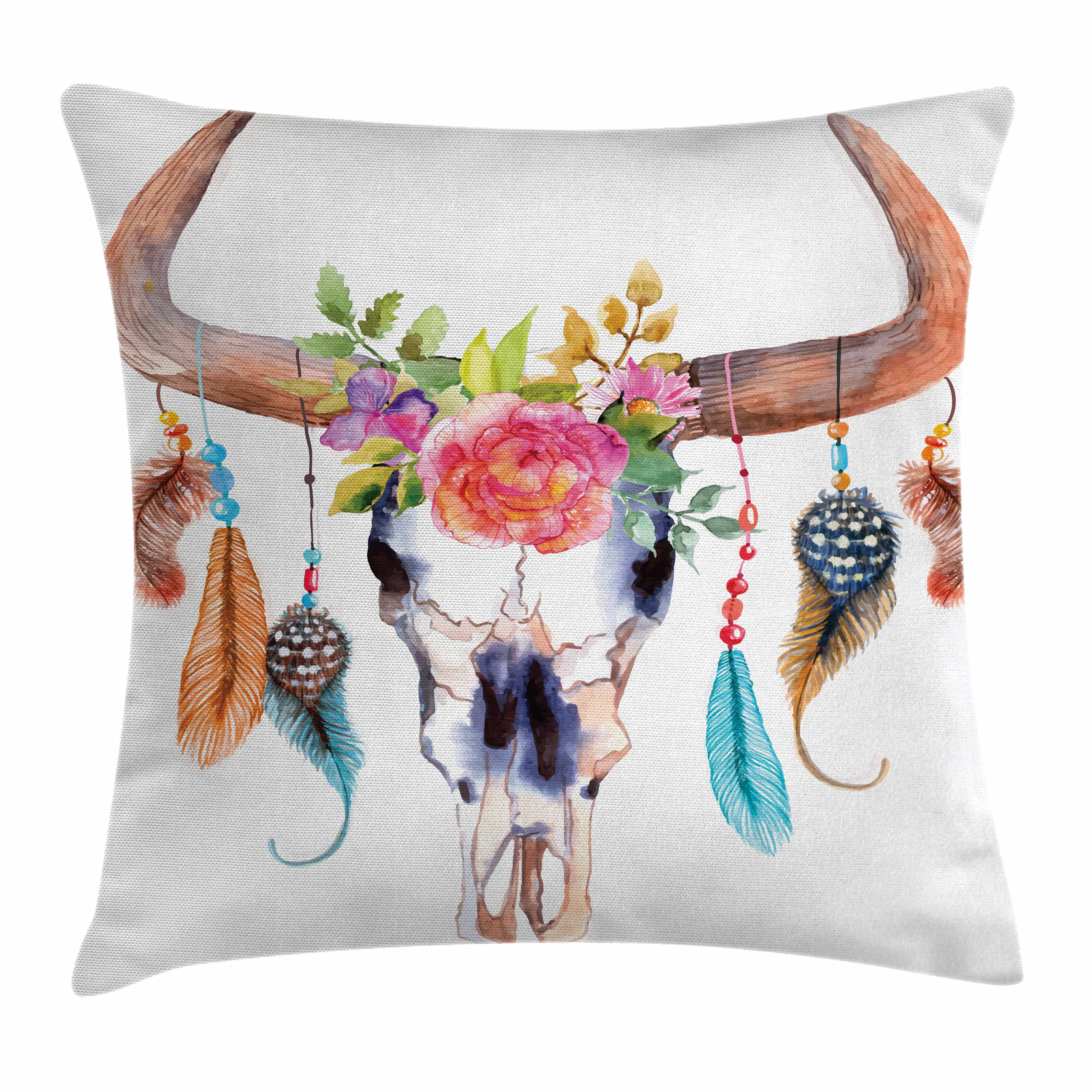 Watercolor Throw Pillow Cushion Cover, Bull Skull with Hanging Flower Feathers Ethnic Inspired Native American Design, Decorative Square Accent Pillow Case, 16 X 16 Inches, Multicolor, by Ambesonne
